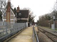 Platform view at Fenny Stratford station on the Bedford to Bletchley line, looking west towards Bletchley on 24 February 2007.<br><br>[John McIntyre&nbsp;24/02/2007]
