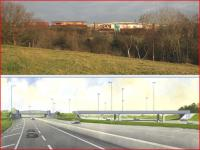 Upper picture: What will soon become part of the new M8 extension, showing view northwest of 66136 with a train of coal empties approaching the <I>Cutty Sark</I> bridge across the A8 on 30th January 2014 [see image 14734].<BR>Lower picture: The planned arrangement after provision of the new dual 3-lane motorway link (view southeast) [Courtesy Transport Scotland]. <br><br>[Colin McDonald&nbsp;30/01/2014]