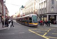 One of Dublins trams in operating in the city on 19 January 2014.<br><br>[John Steven&nbsp;19/01/2014]
