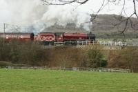 45699 <I>Galatea</I> passing below Warton Crags north of Carnforth on 1 February as it gets to grips with the second leg of the <I>Winter Cumbrian Mountain Express</I> to Carlisle.<br><br>[John McIntyre&nbsp;01/02/2014]