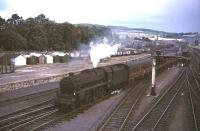 Black 5 no 44690 approaching Perth station from the south in the summer of 1965 at the head of a Glasgow - Dundee train.<br><br>[G W Robin&nbsp;28/08/1965]