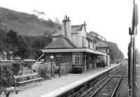 View south towards Connel Ferry through Benderloch station in September 1961. The Ballachulish branch closed completely 5 years later.<br><br>[David Stewart&nbsp;09/09/1961]