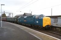 Not an everyday sight at Carnforth. Deltic 55002 <I>The Kings Own Yorkshire Light Infantry</I> arrives on 1 February 2014, returning two coaches that had been borrowed for the move of <I>Duchess of Hamilton</I> from Shildon to York earlier in the week.<br><br>[John McIntyre&nbsp;01/02/2014]