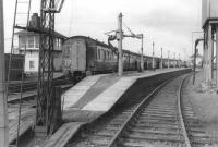 Looking across the south end bay at Girvan in September 1961 as a Swindon DMU calls with the 12.30pm St Enoch - Stranraer service.  <br><br>[David Stewart&nbsp;05/09/1961]