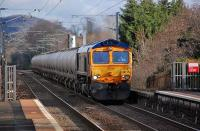 GBRf 66737 approaches  Kingsknowe on 4 January with the 6S45 North Blyth - Fort William <I>Alcans</I>. <br><br>[Bill Roberton&nbsp;04/01/2014]
