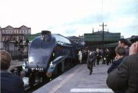 4498 <I>Sir Nigel Gresley</I> at Aberdeen on 20 May 1967 with an A4 Locomotive Society railtour from Glasgow Central.<br><br>[G W Robin&nbsp;20/05/1967]