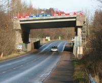 The recently constructed Borders Railway bridge spanning the A7 at Gore Glen. Photographed on Saturday morning 8 February 2014, looking north towards Newtongrange.<br><br>[John Furnevel&nbsp;08/02/2014]