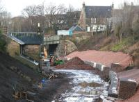 Progress at Gorebridge. Looking north towards the station site on 8 February 2014.<br><br>[John Furnevel&nbsp;08/02/2014]