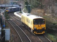 Network Rail Track Assessment Unit 950001 heading north through Aberdour on 10 February 2014.<br><br>[Bill Roberton&nbsp;10/02/2014]