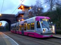 A tram heading for Snow Hill stops on a quiet Sunday evening at Lodge Road. West Midlands Metro<br><br>[Ken Strachan&nbsp;09/02/2014]