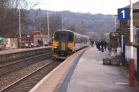 155344 draws to a halt at Todmorden platform 1 on 10 February with a westbound service for Manchester Victoria.<br><br>[John McIntyre&nbsp;10/02/2014]