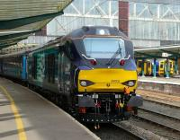 New DRS Class 68 locomotive 68002 prior to departure from Carlisle on 5 February with a test run to Crewe. <br><br>[Ken Browne&nbsp;05/02/2014]