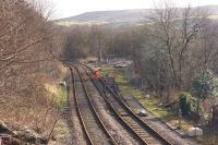 Looking south at the former Stansfield Hall loco spur on the right where Copy Pit bankers would wait to give assistance but which will shortly form part of the re-instated <I>Todmorden Curve</I>. <br><br>[John McIntyre&nbsp;10/02/2014]