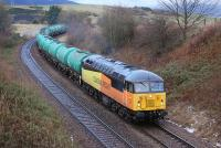 Colas Rail 56087 rounds the curve at the former Cowdenbeath North Junction on 12 February with the 6L82 Linkswood - Grangemouth empty tanks.<br><br>[Bill Roberton&nbsp;12/02/2014]