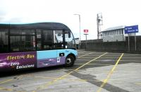 Since last September this McLeans electric bus has connected Stranraer Station, the town centre and Cairnryan ferry terminals. Photographed alongside the station on 13 February. <br><br>[John Yellowlees&nbsp;13/02/2014]