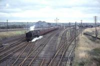 72005 <I>Clan MacGregor</I> approaching Law Junction from the south on 28 September 1964 with a Crewe - Perth train.<br><br>[John Robin&nbsp;28/09/1964]