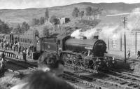 K4 61995 <I>Cameron of Lochiel</I> stands at Crianlarich on 18 June 1960 with the SLS/RCTS 'Scottish Rail Tour' returning from Fort William. From here the special took the C&O route to Glasgow Buchanan Street.  <br><br>[David Stewart&nbsp;18/06/1960]