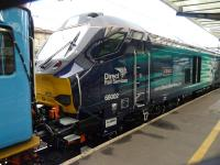 The no 2 end of new DRS Class 68 loco 68002 <I>Intrepid</I> at Carlisle during testing operations on 5 February 2014. Note the data transfer cables between the first coach and the locomotive.<br><br>[Ken Browne&nbsp;05/02/2014]
