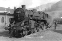 Standard class 5 4-6-0 no 73077 shortly after arrival on Fort William shed in September 1961. The Eastfield locomotive had hauled the 10.5am train from Glasgow Queen Street. <br><br>[David Stewart&nbsp;06/09/1961]