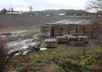 Looking south from the A6106 to the City Bypass deviation at Sheriffhall on 18 February with concrete sleepers stacked in the foreground.<br><br>[Bill Roberton&nbsp;18/02/2014]