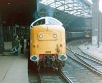 Deltic 55003 <I>Meld</I>, plus one or two admirers, at Newcastle Central in April 1979.<br><br>[Colin Alexander&nbsp;/04/1979]