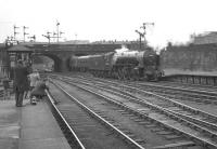 Having brought in the 1.30pm ex-Aberdeen on 26 July 1966, A2 Pacific no 60532 <I>Blue Peter</I> reverses out of Buchanan Street station and heads for St Rollox shed.<br><br>[K A Gray&nbsp;26/07/1966]