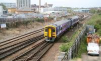 158848 is about to pass below Park Street Bridge, Hull, on 23 April 2009 with the 09.41 Sheffield - Hull - Scarborough service. The train will reverse at Hull station for the trip north along the Yorkshire coast.<br><br>[John Furnevel&nbsp;23/04/2009]