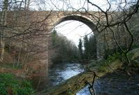 The Edinburgh and Dalkeith Railway's 1830 Glenesk Viaduct looking east towards Dalkeith from the banks of the North Esk on 22 February 2014. Sheriffhall is off to the left and Glenesk Junction to the right. <br><br>[John Furnevel&nbsp;22/02/2014]