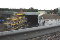 View south from the temporarily diverted Edinburgh City Bypass approaching Sheriffhall roundabout on 22 February, showing the concrete box through which the Borders Railway will pass located in the breached section of the original road.<br><br>[Ewan Crawford&nbsp;22/02/2014]