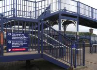 A fully accessible footbridge at Stockton Station helps fill the void left by the loss of the station's overall roof in 1979. [See image 26891]<br><br>[John Yellowlees&nbsp;22/02/2014]