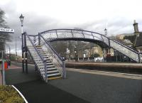 Platform scene at Pitlochry on 25 February, with traditional lanterns completing the improvements to the footbridge.<br><br>[John Yellowlees&nbsp;25/02/2014]