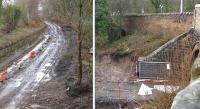 On the left is the view south from the A6106 at Melville Gate along the Waverley trackbed on 18 February. On the right is the view west from the same bridge with the trackbed in the foreground. Note the second arch further west on the original Edinburgh and Dalkeith alignment. [See image 46447] [Ref query 2870]<br><br>[Bill Roberton&nbsp;18/02/2014]