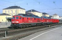 USSR built class 232 Co-Co diesel-electric locomotives 232 425 and 232 241 passing through Regensburg Hbf with a single bogie van in departmental use on 6th March 2002.<br><br>[Bill Jamieson&nbsp;06/03/2002]