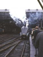 4489 <I>Sir Nigel Gresley</I> awaiting departure from Glasgow Central on 20 May 1967 with an A4 Locomotive Society railtour to Aberdeen. <br><br>[G W Robin&nbsp;20/05/1967]