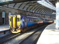 Scotrail 156512 has just arrived to time into bay platform 10 at Newcastle Central, 3 hours 44 minutes after setting out on the 12.12 ex Glasgow Central service via Kilmarnock and Carlisle. <br><br>[David Pesterfield&nbsp;28/02/2014]