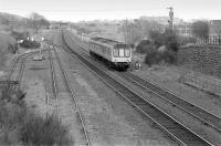 107045 passing Townhill loops with an Edinburgh-bound train on 14 April 1992.  Townhill Wagon Shops and depot were behind the train.<br><br>[Bill Roberton&nbsp;15/04/1992]