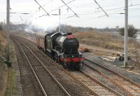 K4 2-6-0 61994 <I>The Great Marquess</I> passing through Hest Bank on a trip from Crewe Heritage Centre to the Worth Valley on 5 March (via Carnforth and the Little North Western route to Settle Junction). <br><br>[Mark Bartlett&nbsp;05/03/2014]