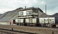The signal box to the north of Kirkconnel station in April 1965, with the rail served Fauldhead Colliery beyond. [See image 40175]<br><br>[John Robin&nbsp;02/04/1965]