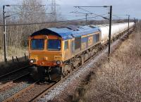 GBRf 66735 powers the 6S45 North Blyth - Fort William alumina tanks past the former Camps Junction on 4 March.<br><br>[Bill Roberton&nbsp;04/03/2014]