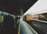 The leading class 37 locomotive reflects on its arrival in Coventry with the Pathfinder Tours <I>Industrious Trader</I>. Platform view west on 15 November 2008.<br><br>[Ken Strachan&nbsp;15/11/2008]