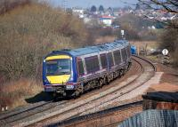 170419 takes the Stirling line at Carmuirs West Junction on 11 March 2014 with the Falkirk Grahamston route in the foreground in a view only possible after demolition of the signalbox. [See image 15131]<br><br>[Bill Roberton&nbsp;11/03/2014]