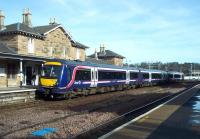 ScotRail 170408 prepares to leave Cupar as the 09.55 to Dundee on 10 March 2014.<br><br>[Andrew Wilson&nbsp;10/03/2014]