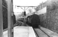 A Fairburn 2-6-4 tank about to enter Crosshill station in 1962 with a train from Glasgow Central.<br><br>[David Stewart //1962]