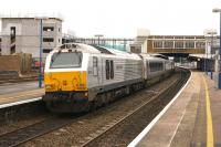 With 67014 providing the <I>push power</I> a Chiltern Railways service makes the last stop on a Birmingham to London service on 6 March 2014. DVT 82301 was on the front. The new multi-storey station car park is under construction on the left.<br><br>[John McIntyre 06/03/2014]