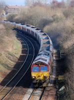 DBS 66018 climbs away from Carmuirs West on 11 March with empty coal hoppers returning from Longannet to Hunterston.<br><br>[Bill Roberton&nbsp;11/03/2014]
