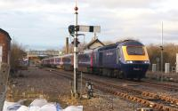 A First Great Western Hereford to Paddington HST departs from Moreton-in-Marsh on 3 March 2014.<br><br>[John McIntyre&nbsp;03/03/2014]