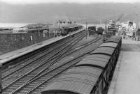 General view over the station at Kyle of Lochalsh on 7 September 1961 with <I>Loch Seaforth</I>, recently arrived from Mallaig, berthed on the right of the picture. [See image 27258] <br><br>[David Stewart&nbsp;07/09/1961]