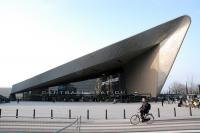 The striking new station building and entrance at Rotterdam Centraal station viewed from the south. The entrance to underground lines D and E is in the new building and the mainline platforms are beyond.<br><br>[Ewan Crawford&nbsp;10/03/2014]