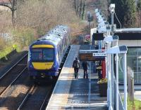 The 11.41 service to Glasgow Queen Street boarding at Alloa on 11 March 2014. <br><br>[John Furnevel&nbsp;11/03/2014]