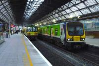 Scene at Dublin Pearse station on 19 January 2014. Trains for Malahide and Howth are awaiting their departure times at platforms 1 (left} and 2 respectively.<br><br>[John Steven&nbsp;19/01/2014]